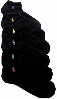 Polo Ralph Lauren Ladies 6 Pack Classic Cotton Sport Socks Shoe Size 4
