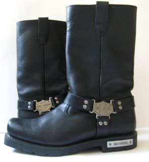 HARLEY DAVIDSON BLACK LEATHER MOTORCYCLE PROTECTIVE BOOTS EXCELLENT SZ