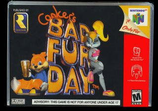 N64 Conkers Bad Fur Day Plastic Case for Collectors not A Game or Box