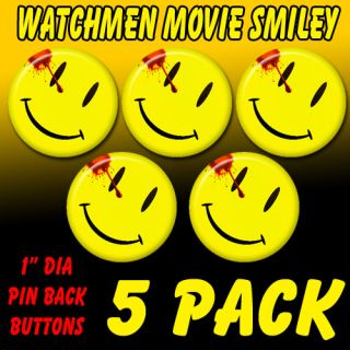 watchmen movie smiley pin back button badge set 5 pack