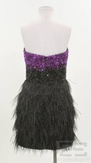 Badgley Mischka Collection Black Purple Beaded Feather Strapless Dress
