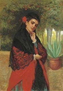 John Bagnold Burgess English Master Museum Quality Female Portrait Oil