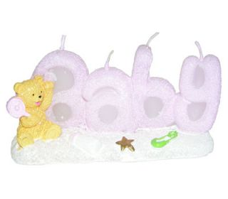 Lot 12 Teddy Bears Baby Showers Candles Party Favors Pink Blue Wrapped