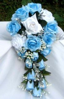 Baby Blue and White Brides Cascading Wedding Bouquet