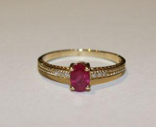 Estate 14KY Ruby Diamond Ring 53cttw 1 6 grams Sz 7
