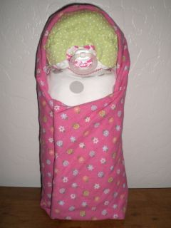 Baby Shower Diaper Cake Swaddling Baby Girl Green Dots Cap