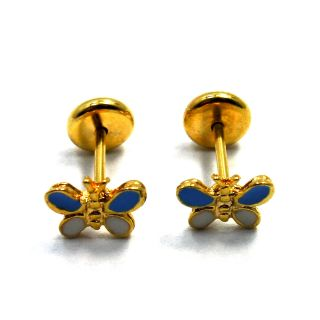 18k GF Little Earrings Blue Butterfly Earrings Baby Girl Safety Stud