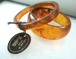 Vintage Marblette Bakelite Bracelet w Tag Lot of 2 Bangle