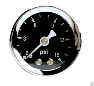Marshall 0 15 PSI Fuel Pressure Gauge 1 5 Black 15026