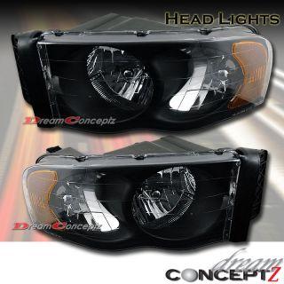 2004 2005 Dodge RAM 1500 2500 3500 Truck Headlight Black Style