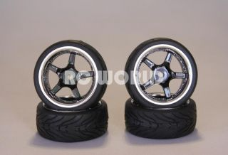 RC 1 10 Car Tires Black Chrome Lip Wheels Rims Package Kyosho Tamiya