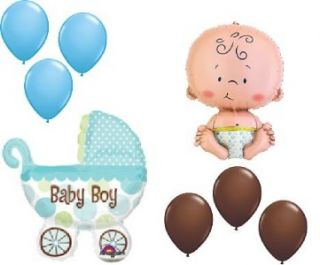 Baby Shower Balloons Welcome Boy Chocolate Blue Buggy