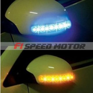 Blue LED Car Side Mirror Soft Turn Signal Lights Amber Indicator JDM J