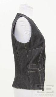 Balenciaga Denim Dark Wash Denim Button Front Vest Size 38