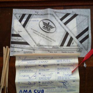 Cub Rubber Band Power Plane Model Kit BALSA WOOD Academy Aeronautics