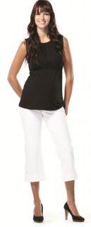 Japanese Weekend Maternity Casual White Capri Pants $75