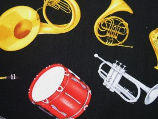 Timeless Treasures Band Instruments Music Drum Tuba Fabric 30 Off Sale