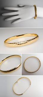 Big Cat Cheetah Print Design Bangle Bracelet Solid 14k Gold Fine