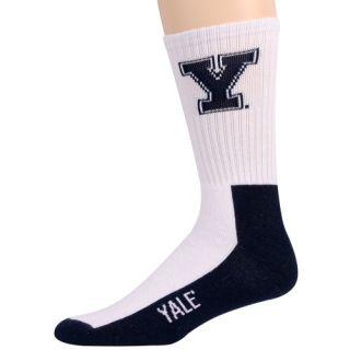 Yale Bulldogs Youth White Navy Blue Team Logo Crew Socks