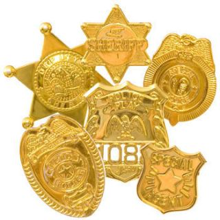 New 6 PC Police Badge Gold Pretend Play Sheriff Special Agent Toy Set
