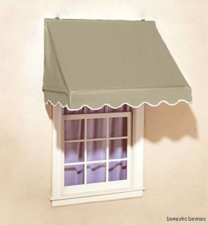Scalloped Edge Retractable Window Door Awning Beige Awnings