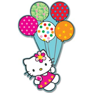 Hello Kitty Balloon Flying Car Bumper Sticker 3 x 5