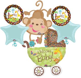 SAFARI ANIMAL MONKEY BOY BABY SHOWER BALLOONS DECORATIONS SUPPLIES