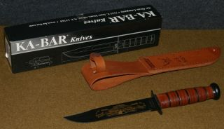 KA BAR KNIFE IN SCABBARD   USN UNITED STATES NAVY PEARL HARBOR 60TH