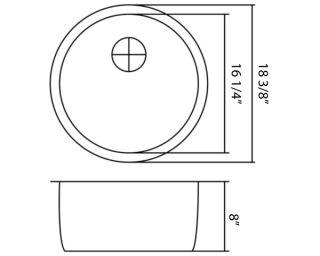 18 3 8 16 Gauge Round Shape Undermount Stainless Steel Kitchen Prep