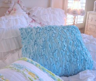 SHABBY BEACH COTTAGE CHIC BAHAMA BLUE RAG RUFFLE O PILLOW