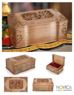 Eternal Ivy India Carved Walnut Wood Jewelry Box Art