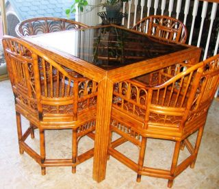 RATTAN ASIAN DINING TABLE CHAIRS SEPARATE SET BAMBOO WOOD SMOKED GLASS