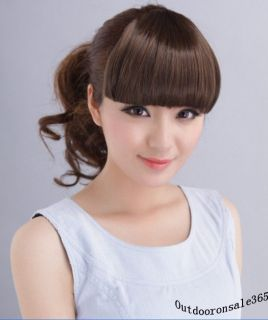 Fashion Girls Clip on Front Neat Bang Fringe Hair Extensions