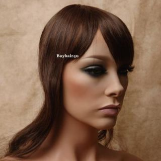 Clip in on Bangs Fringes Hairpieces Wigs Top Skin Cover Hair Toppers 9