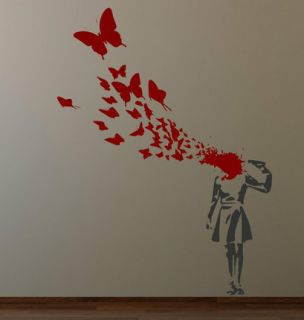Banksy Suicide Butterflies Girl Wall Decal Sticker Streetart Classic