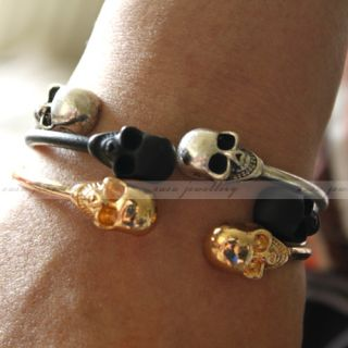 Skull Punk Girls Charms Gothic Metal Cuff Bangle Bracelet