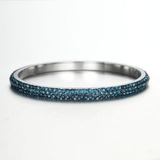 Rows Dark Blue Rhinestones Stainless Steel Bangle Bracelet