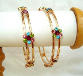 jewelry/jewellery multi colored CRYSTAL GOLD PLATED BANGLES/BRACELETS