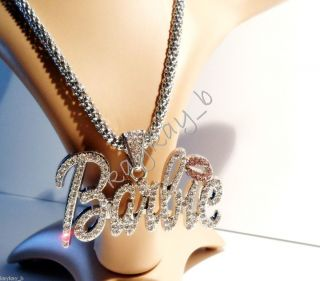 New Nicki Minaj 3 BARBIE Iced Out Necklace Silver Clear Pink Lip