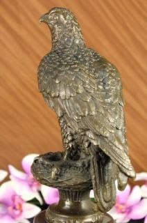 Signed American Bald Eagle Bronze Sculpture Statue Art Deco Marble Zoo