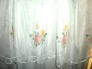 Window Curtain 2 Sheer Window Panels with Pink and Peach Flowers 54 x