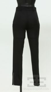 Balenciaga Black Wool Zipper Detail Cropped Trouser Pants Size 36