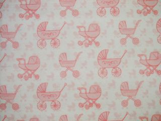 36x40 Pink Baby Carriage Pram Flannel Blanket Quilted Burp Cloth Pad