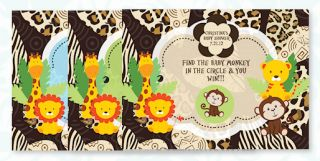 Tiger Giraffe Lion Monkey Baby Shower Invitations Invites