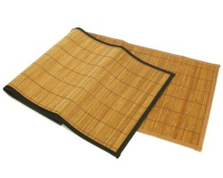 Brown Natural Bamboo Table Runners w/ Black Edge Trim 13x36 Linen