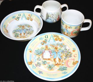 Peter Rabbit 4 PC Set of Children Baby Dishes 2 Cups Plate Bowl