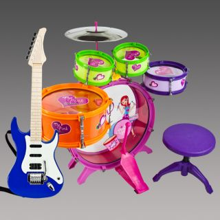 Toy Drum Playset & Blue Guitar Musical Instrument Educational Band Kit