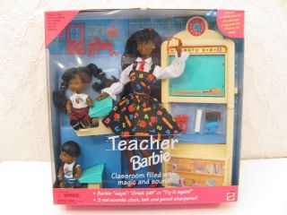 Teacher Barbie Doll Set Mattel 1995 Black African American NIB 3 dolls