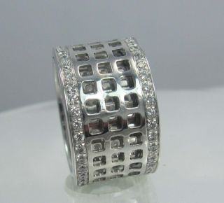 Gucci Spinning Ring wide band diamonds 1ct 18ct white gold ring