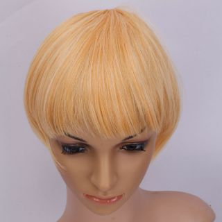 Silk Fashion Hair Extension Clip Straight Bang Beige